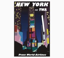 """TWA AIRLINES"" Vintage Fly to New York Print One Piece - Short Sleeve"
