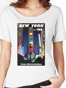 """TWA AIRLINES"" Vintage Fly to New York Print Women's Relaxed Fit T-Shirt"