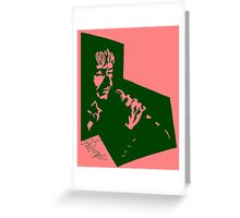 Our Mutual Friend - dark green/pink Greeting Card