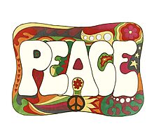 Vintage Psychedelic Peace and Love Photographic Print