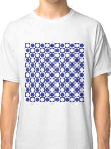 Blue and White Squares and Polka Dots  Classic T-Shirt