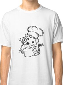koch kochen grillen grill meister chef schürze kochmütze wender gabel essen lecker sitzend rund kind baby süßer kleiner niedlicher igel  Classic T-Shirt