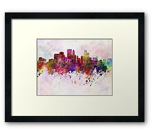 Minneapolis skyline in watercolor background Framed Print