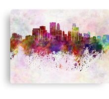 Minneapolis skyline in watercolor background Canvas Print