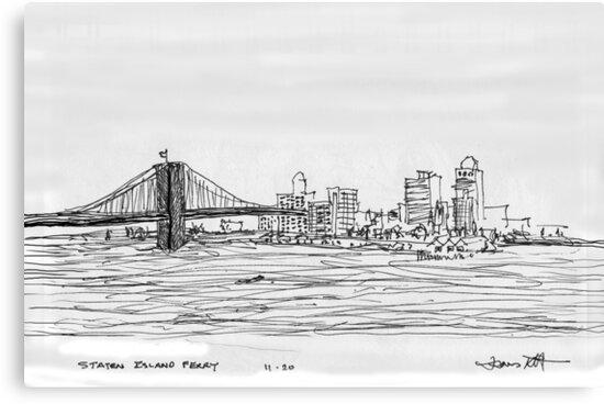 NYC- Brooklyn Bridge as drawn from Staten Island Ferry by James Lewis Hamilton