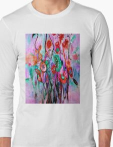 """ABSTRACT PSYCHEDELIC FLOWERS"" Whimsical Print Long Sleeve T-Shirt"
