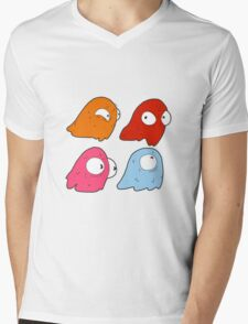 Inky, Blinky, Pinky, and Clyde Mens V-Neck T-Shirt