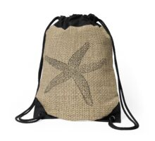 Natural Beige Burlap with  Faded Starfish in Black  Drawstring Bag