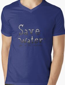 SAVE WATER: PEE IN THE SHOWER Mens V-Neck T-Shirt