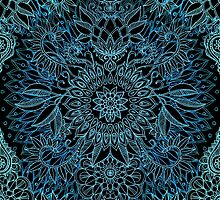 Black, Teal & Aqua Protea Doodle Pattern by micklyn