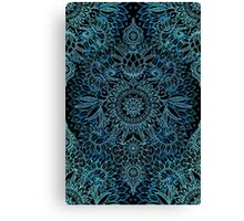Black, Teal & Aqua Protea Doodle Pattern Canvas Print