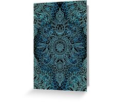 Black, Teal & Aqua Protea Doodle Pattern Greeting Card