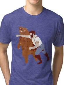 Man Punching Bear  Tri-blend T-Shirt
