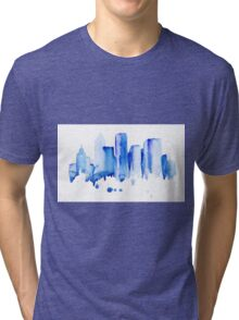 silhouette of the city of new York watercolor hand-drawn Tri-blend T-Shirt