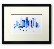silhouette of the city of new York watercolor hand-drawn Framed Print
