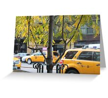 Moving New York: Yellow Cab, East Village, NYC Greeting Card