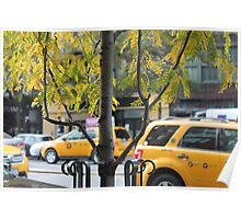 Moving New York: Yellow Cab, East Village, NYC Poster