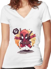 dead pool Women's Fitted V-Neck T-Shirt