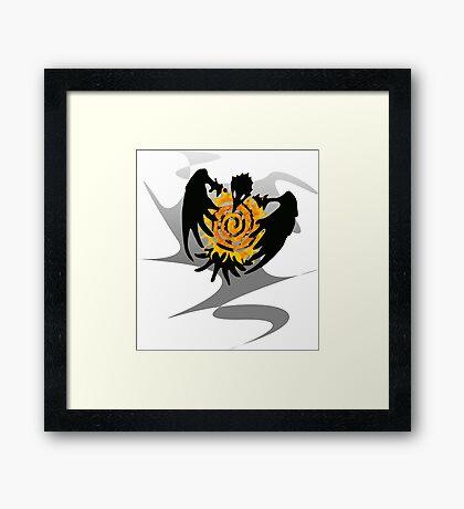 Trickster Raven with Sun Framed Print