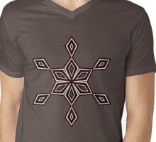 Red, Black & White Diamonds Mens V-Neck T-Shirt