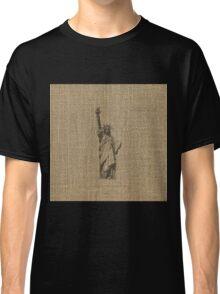 Natural Beige Burlap Statue Of Liberty in Faded Black on Ellis Island Classic T-Shirt