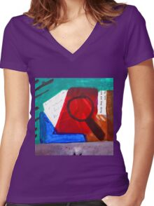 Collage Nr. 1: Magnifying Women's Fitted V-Neck T-Shirt