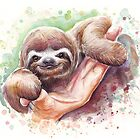Baby Sloth Watercolor | Animal Art by OlechkaDesign