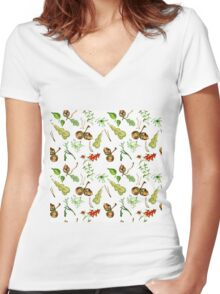 Botanical watercolor seamless pattern. Women's Fitted V-Neck T-Shirt