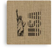 Rustic American Country Burlap Statue Of Liberty USA FLag Canvas Print