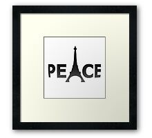 3D Curved Text Paris France Peace Eiffel Tower Slogan on White  Framed Print