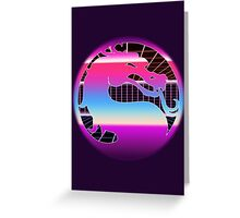 80's Cyber Grid Mortal Kombat Logo Greeting Card