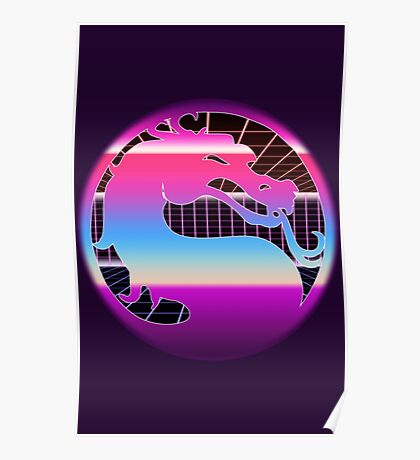 80's Cyber Grid Mortal Kombat Logo Poster