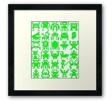 Warp Zone Creatures: Green Framed Print
