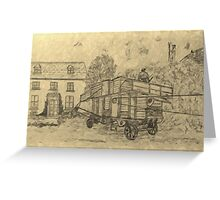 A digitally treated image of my pencil drawing of Steam Threshing in Yorkshire, England Greeting Card