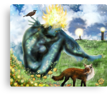 The Loneliness of the long Distance Summer or The Light from Houses [Digital Fantasy Figure Illustration] Canvas Print