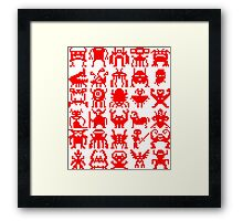 Warp Zone Creatures: Red Framed Print