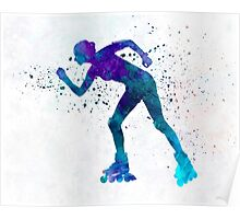 Woman in roller skates 06 in watercolor Poster