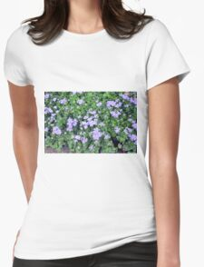 Natural bush with purple small flowers. Womens Fitted T-Shirt