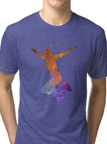 Woman in roller skates 07 in watercolor Tri-blend T-Shirt