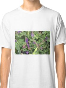 Natural bush with purple small flowers. Classic T-Shirt