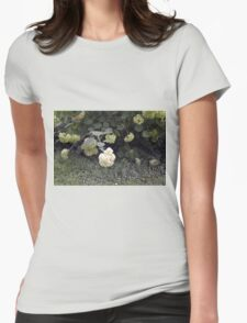 White flowers part of natural bush in the garden. Womens Fitted T-Shirt