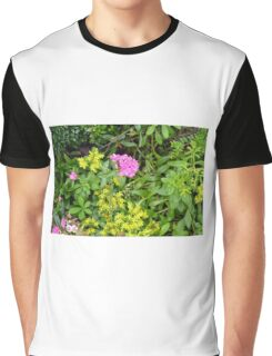 Natural background with vegetation and purple flowers. Graphic T-Shirt