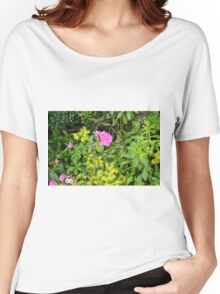 Natural background with vegetation and purple flowers. Women's Relaxed Fit T-Shirt