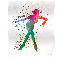 Woman in roller skates 08 in watercolor Poster