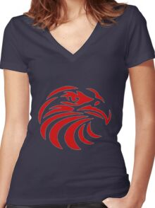 Eagle Head Women's Fitted V-Neck T-Shirt