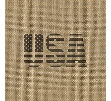 Vintage Natural Beige Burlap USA Flag in Rustic Black Text Photographic Print