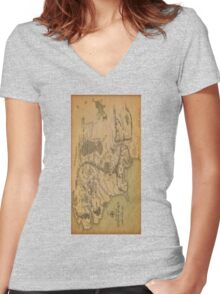 Middle Earth Map Women's Fitted V-Neck T-Shirt