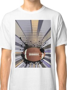 Rugby Ball on Rays Background 2 Classic T-Shirt