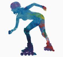 Woman in roller skates 10 in watercolor Kids Tee