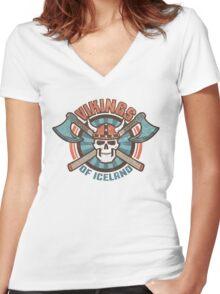 viking skull Women's Fitted V-Neck T-Shirt